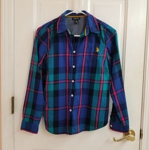 Buttoned down shirt S blue striped